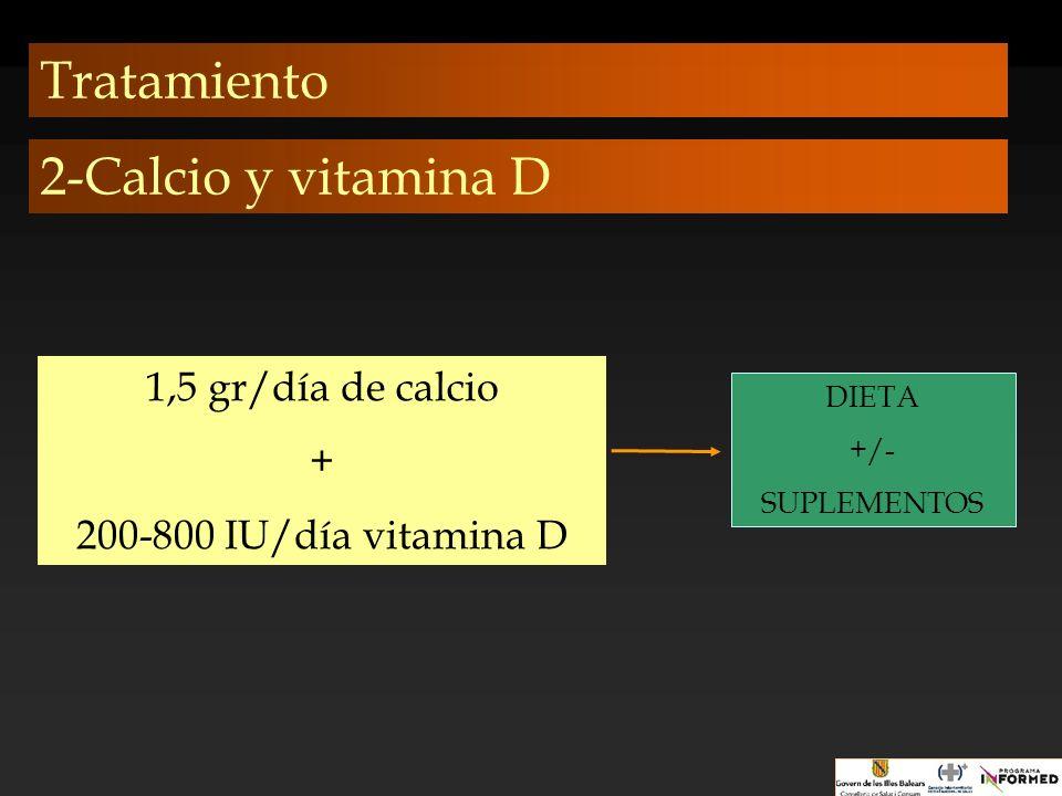 Tratamiento 1,5 gr/día de calcio + 200-800 IU/día vitamina D DIETA +/- SUPLEMENTOS 2-Calcio y vitamina D