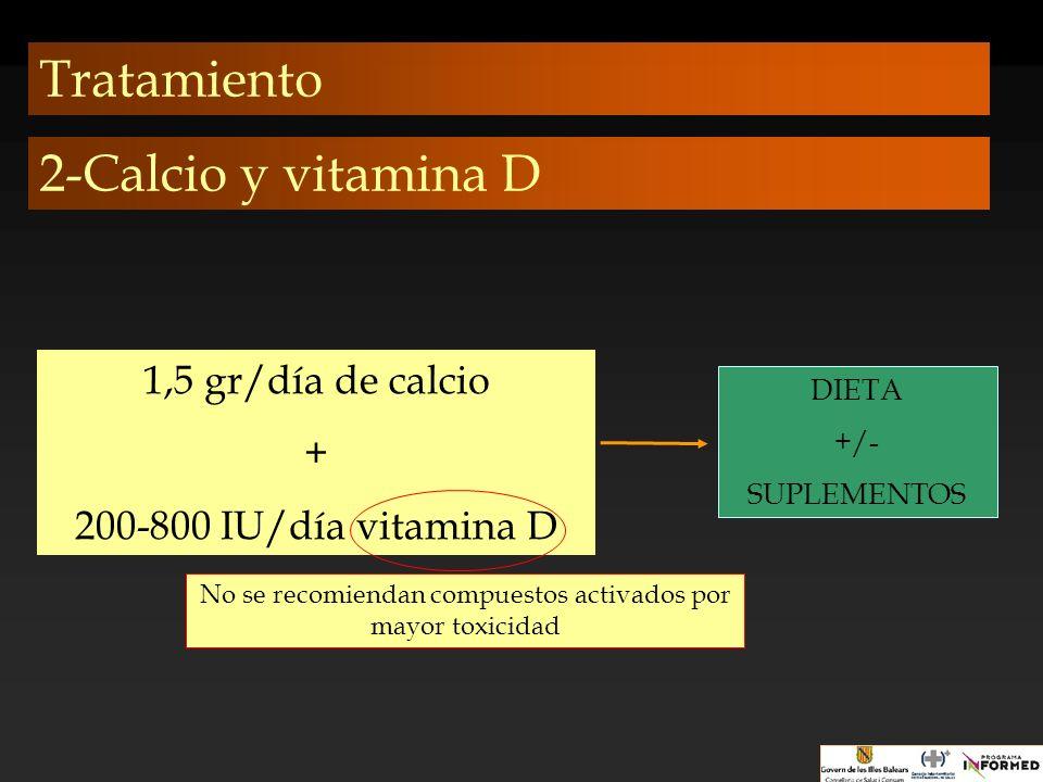 Tratamiento 1,5 gr/día de calcio + 200-800 IU/día vitamina D DIETA +/- SUPLEMENTOS 2-Calcio y vitamina D No se recomiendan compuestos activados por ma
