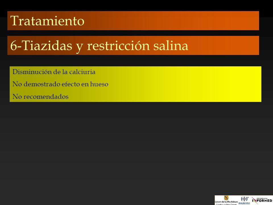 Tratamiento 6-Tiazidas y restricción salina Disminución de la calciuria No demostrado efecto en hueso No recomendados