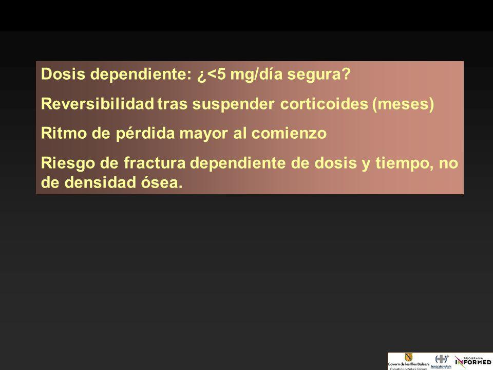 Dosis dependiente: ¿<5 mg/día segura? Reversibilidad tras suspender corticoides (meses) Ritmo de pérdida mayor al comienzo Riesgo de fractura dependie