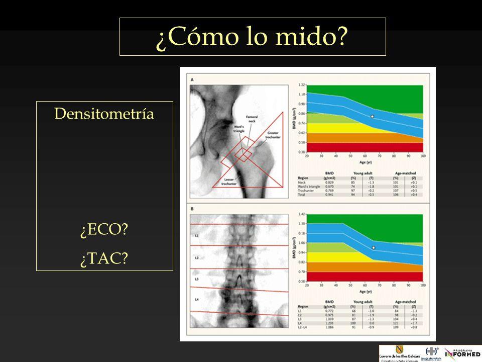 ¿Cómo lo mido? Densitometría ¿ECO? ¿TAC?
