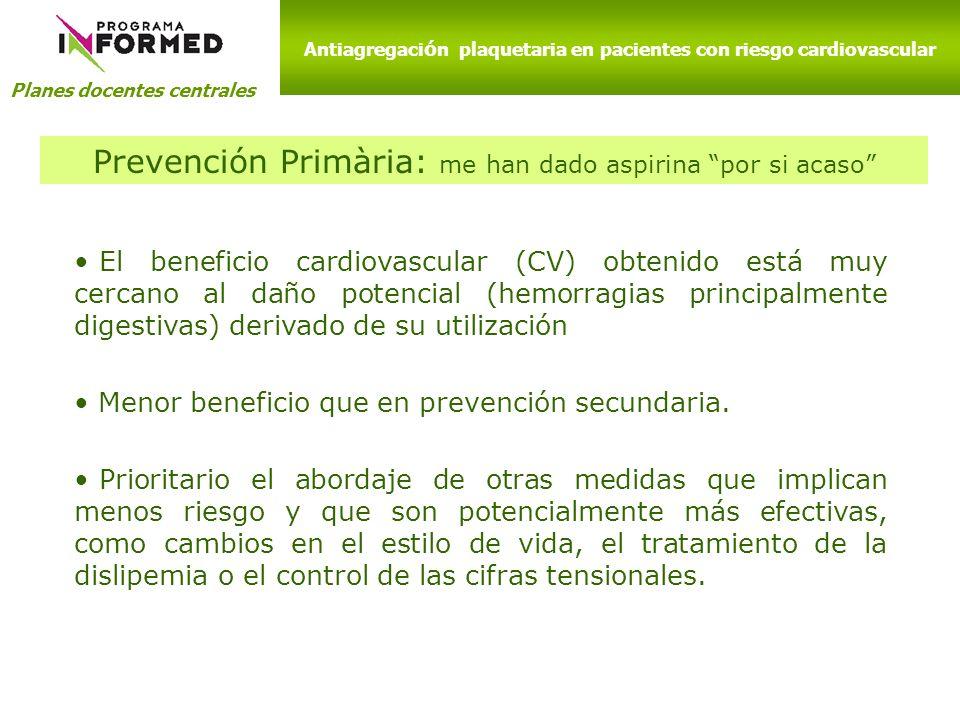 Planes docentes centrales El beneficio cardiovascular (CV) obtenido está muy cercano al daño potencial (hemorragias principalmente digestivas) derivad