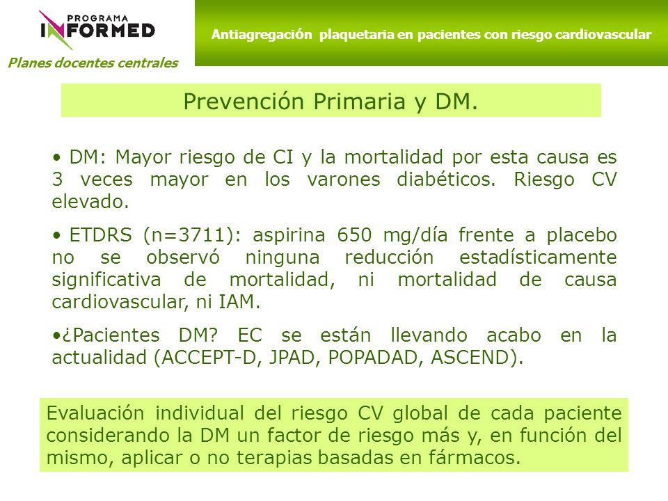 Planes docentes centrales Antiagregaci ó n plaquetaria en pacientes con riesgo cardiovascular Prevención Primaria y DM. DM: Mayor riesgo de CI y la mo