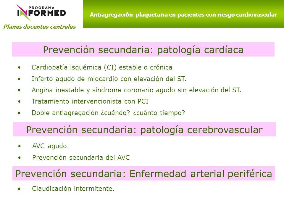 Cardiopatía isquémica (CI) estable o crónica Infarto agudo de miocardio con elevación del ST. Angina inestable y síndrome coronario agudo sin elevació