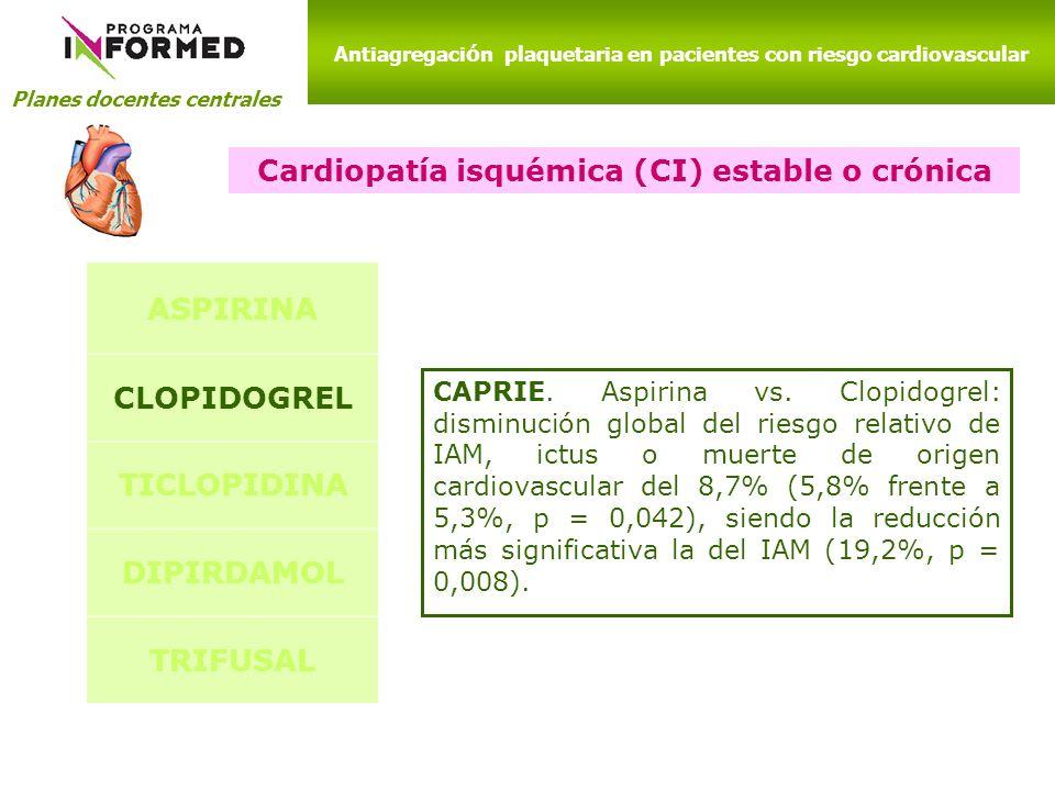 Planes docentes centrales Antiagregaci ó n plaquetaria en pacientes con riesgo cardiovascular Cardiopatía isquémica (CI) estable o crónica ASPIRINA CL