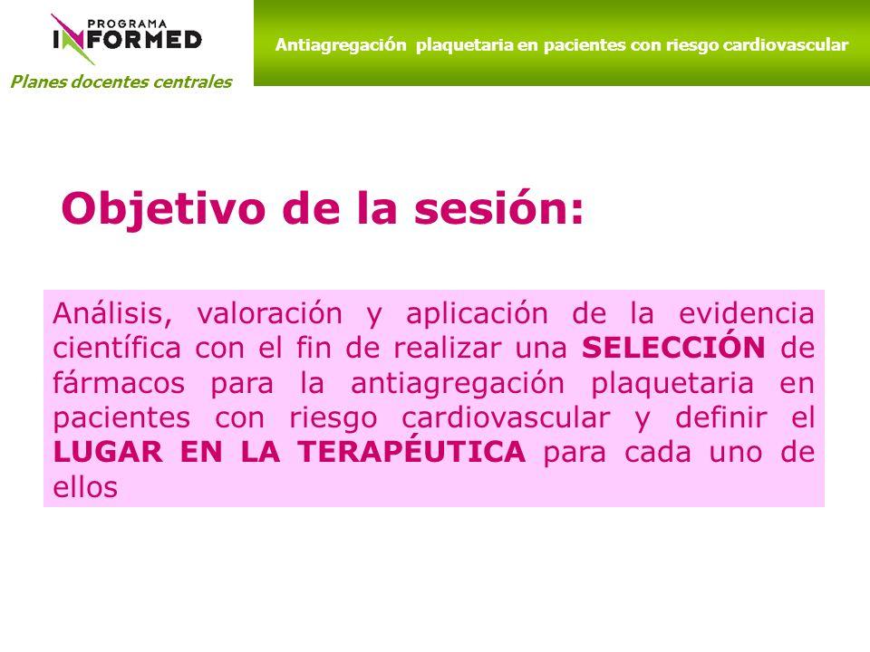 Planes docentes centrales Objetivo de la sesión: Análisis, valoración y aplicación de la evidencia científica con el fin de realizar una SELECCIÓN de