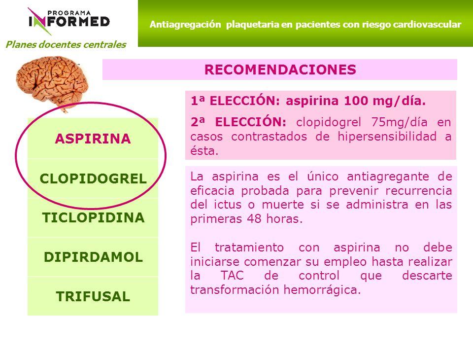 Planes docentes centrales Antiagregaci ó n plaquetaria en pacientes con riesgo cardiovascular RECOMENDACIONES ASPIRINA CLOPIDOGREL TICLOPIDINA DIPIRDA