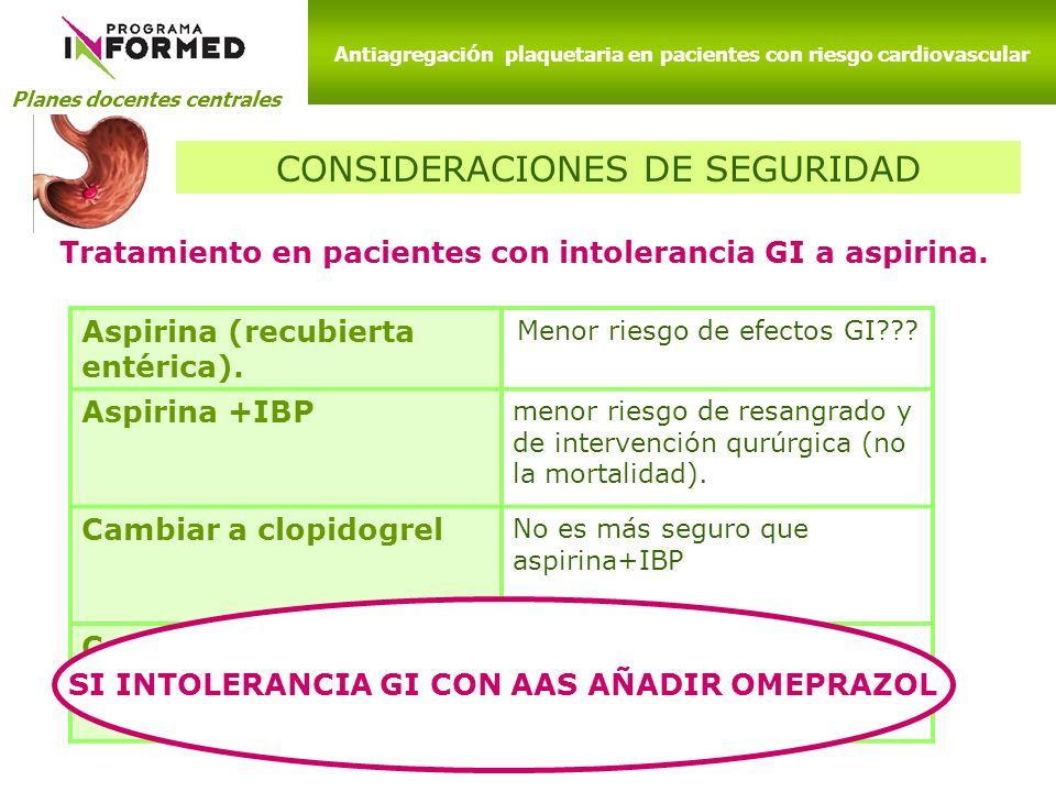 Planes docentes centrales Antiagregaci ó n plaquetaria en pacientes con riesgo cardiovascular CONSIDERACIONES DE SEGURIDAD Tratamiento en pacientes co