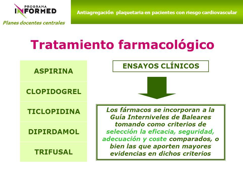 Planes docentes centrales Antiagregaci ó n plaquetaria en pacientes con riesgo cardiovascular Tratamiento farmacológico ASPIRINA CLOPIDOGREL TICLOPIDI