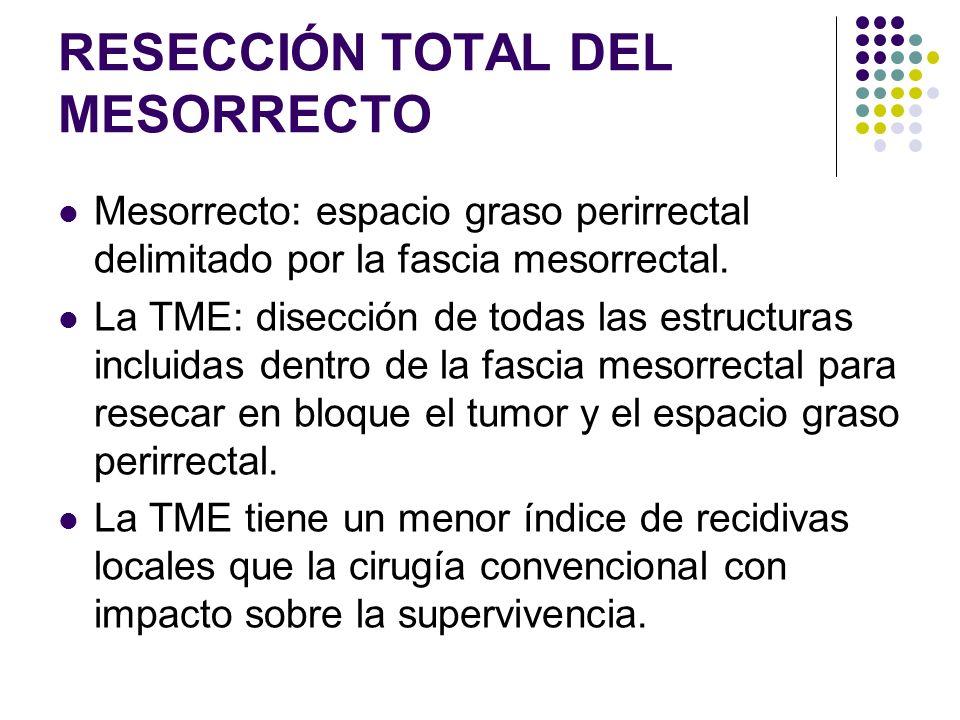 RESECCIÓN TOTAL DEL MESORRECTO Mesorrecto: espacio graso perirrectal delimitado por la fascia mesorrectal. La TME: disección de todas las estructuras
