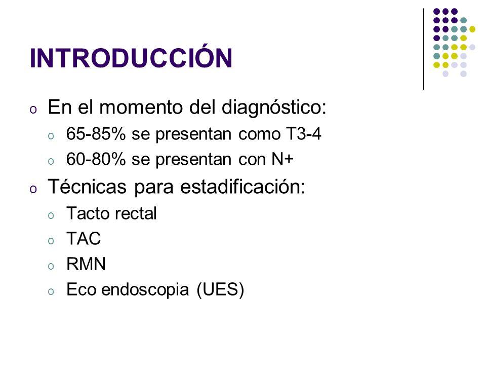 INTRODUCCIÓN o En el momento del diagnóstico: o 65-85% se presentan como T3-4 o 60-80% se presentan con N+ o Técnicas para estadificación: o Tacto rec