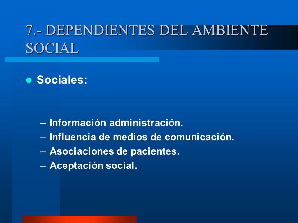 7.- DEPENDIENTES DEL AMBIENTE SOCIAL Sociales: –Información administración.