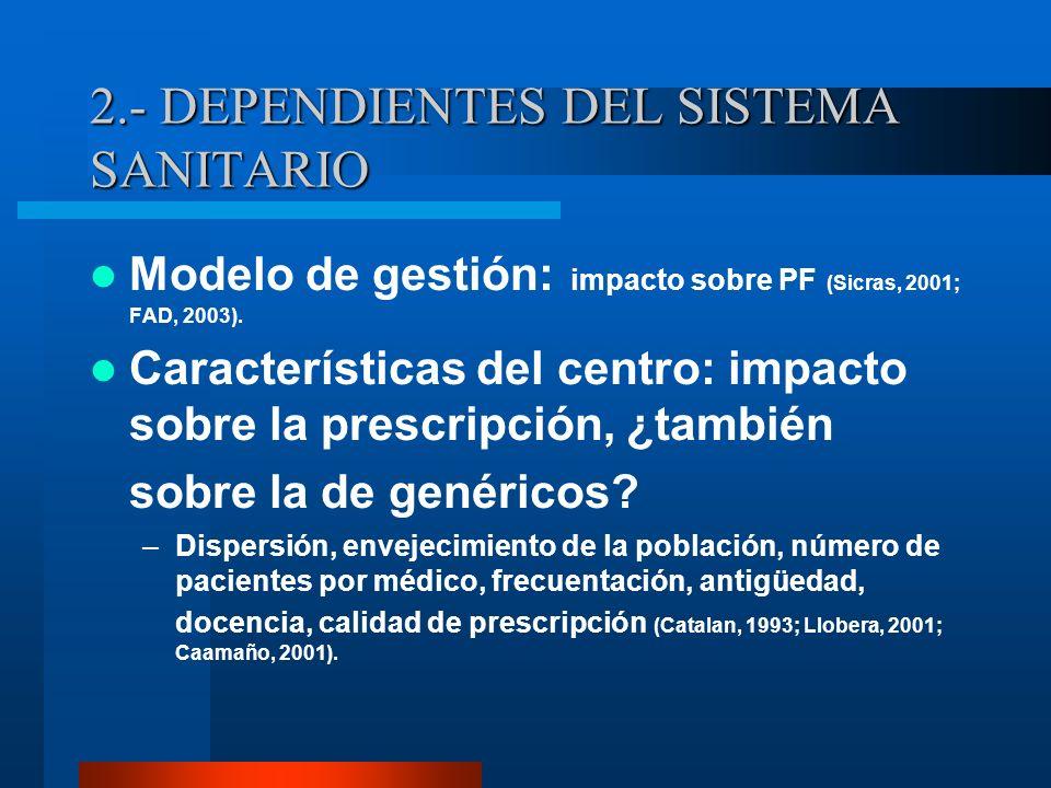 2.- DEPENDIENTES DEL SISTEMA SANITARIO Organización del EAP: Colaboración entre profesionales, sistemas de prescripción repetida, etc.