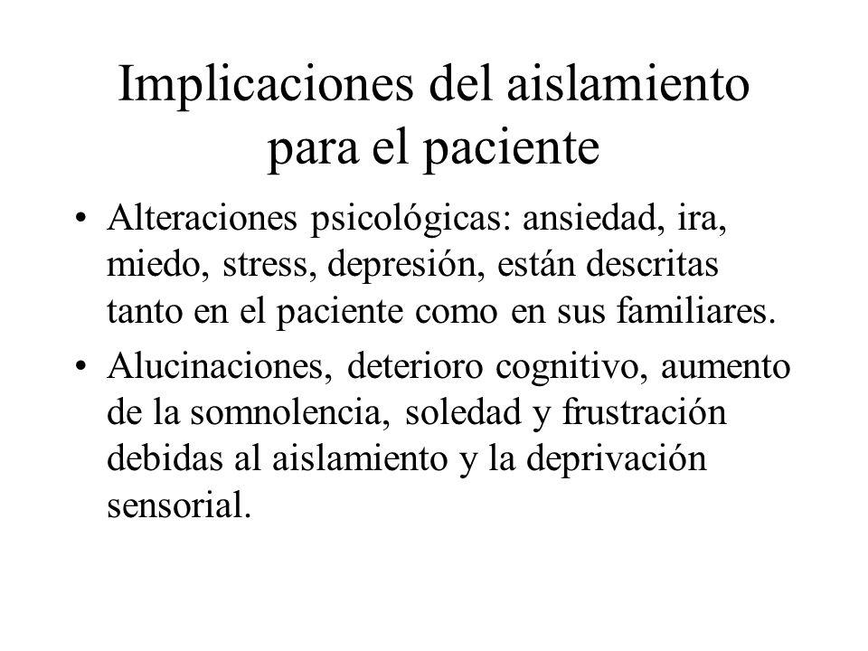 Implicaciones del aislamiento para el paciente Alteraciones psicológicas: ansiedad, ira, miedo, stress, depresión, están descritas tanto en el pacient