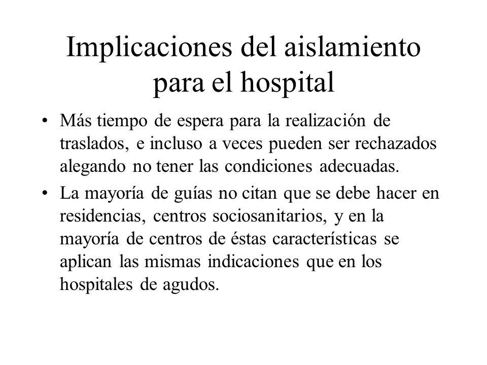 Implicaciones del aislamiento para el hospital Más tiempo de espera para la realización de traslados, e incluso a veces pueden ser rechazados alegando