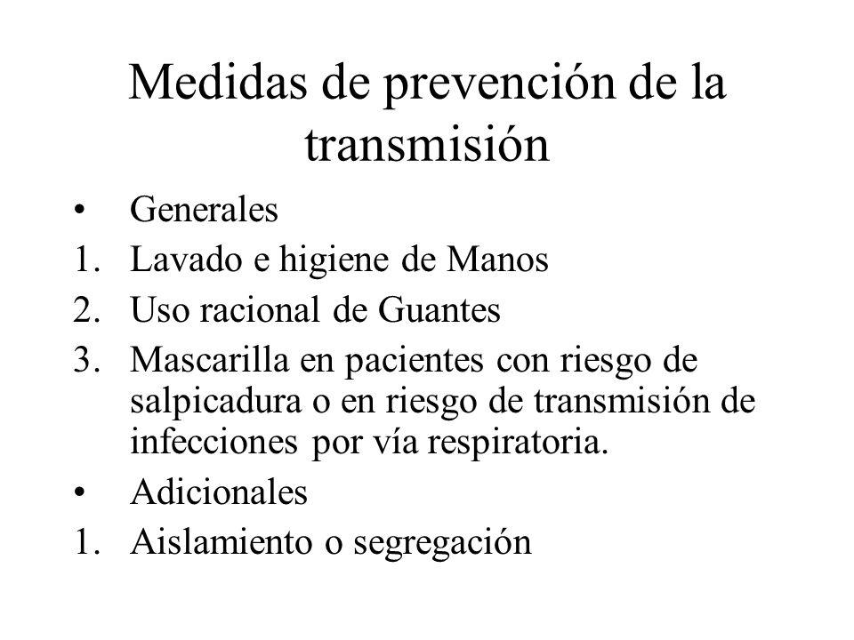 Medidas de prevención de la transmisión Generales 1.Lavado e higiene de Manos 2.Uso racional de Guantes 3.Mascarilla en pacientes con riesgo de salpic