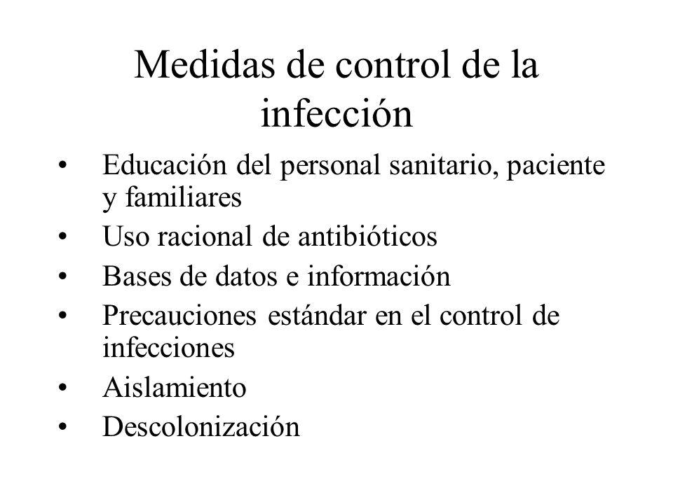 Medidas de control de la infección Educación del personal sanitario, paciente y familiares Uso racional de antibióticos Bases de datos e información P