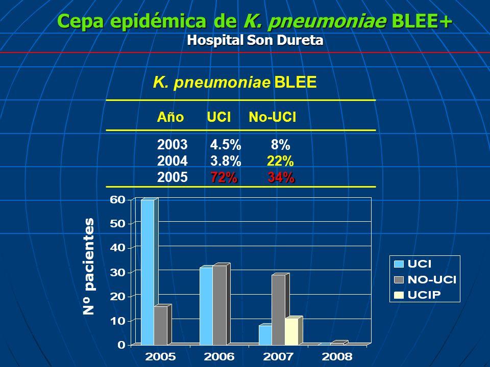 Cepa epidémica de K. pneumoniae BLEE+ Hospital Son Dureta 2003 4.5% 8% 2004 3.8% 22% 72% 34% 2005 72% 34% Año UCI No-UCI K. pneumoniae BLEE Nº pacient
