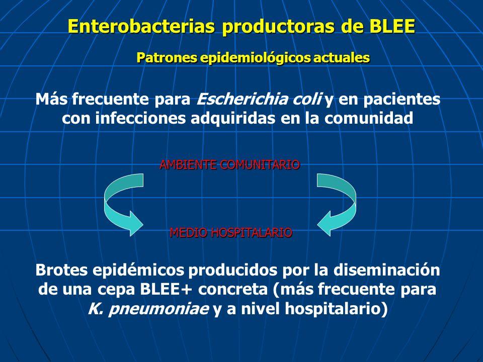 Enterobacterias productoras de BLEE Más frecuente para Escherichia coli y en pacientes con infecciones adquiridas en la comunidad Patrones epidemiológ