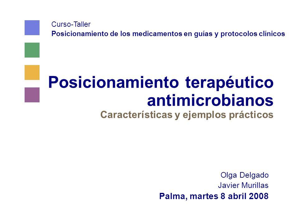 Posicionamiento terapéutico antimicrobianos Características y ejemplos prácticos Olga Delgado Javier Murillas Palma, martes 8 abril 2008 Curso-Taller Posicionamiento de los medicamentos en guías y protocolos clínicos