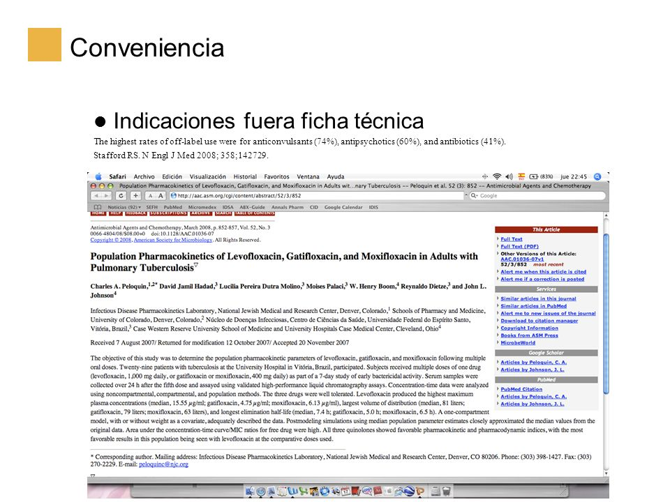 Conveniencia Indicaciones fuera ficha técnica The highest rates of off-label use were for anticonvulsants (74%), antipsychotics (60%), and antibiotics (41%).