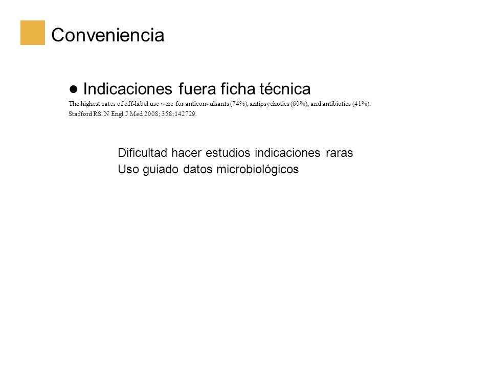 Conveniencia Indicaciones fuera ficha técnica The highest rates of off-label use were for anticonvulsants (74%), antipsychotics (60%), and antibiotics