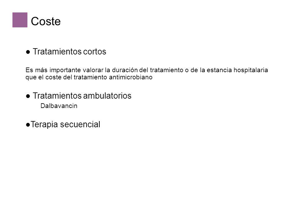 Coste Tratamientos cortos Es más importante valorar la duración del tratamiento o de la estancia hospitalaria que el coste del tratamiento antimicrobiano Tratamientos ambulatorios Dalbavancin Terapia secuencial
