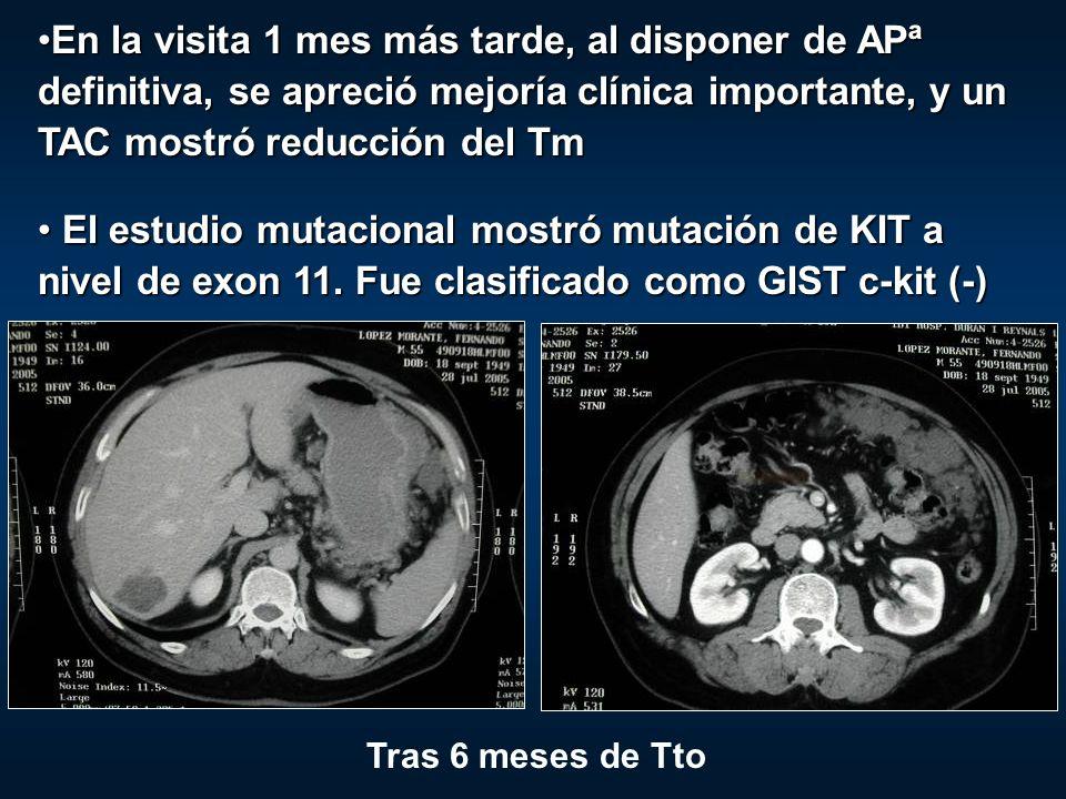 En la visita 1 mes más tarde, al disponer de APª definitiva, se apreció mejoría clínica importante, y un TAC mostró reducción del TmEn la visita 1 mes