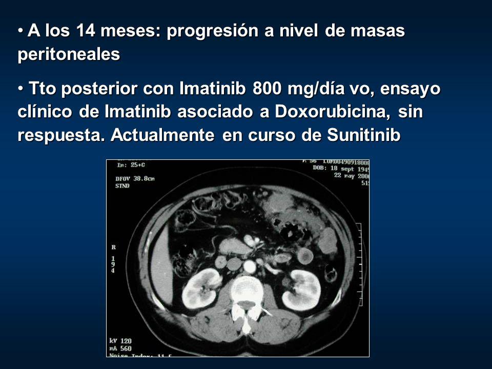 A los 14 meses: progresión a nivel de masas peritoneales A los 14 meses: progresión a nivel de masas peritoneales Tto posterior con Imatinib 800 mg/dí