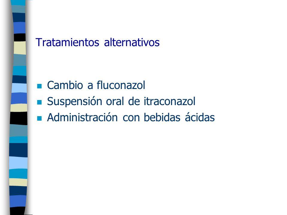 Tratamientos alternativos n Cambio a fluconazol n Suspensión oral de itraconazol n Administración con bebidas ácidas