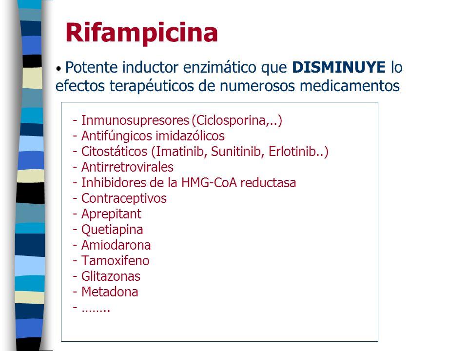Rifampicina - Inmunosupresores (Ciclosporina,..) - Antifúngicos imidazólicos - Citostáticos (Imatinib, Sunitinib, Erlotinib..) - Antirretrovirales - I