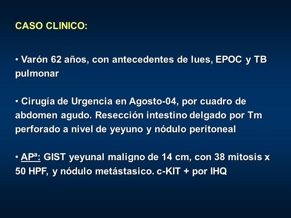 A los 10 meses: recidiva en epiplon, en HC dcho A los 10 meses: recidiva en epiplon, en HC dcho Inicia Imatinib 400 mg/día vo Inicia Imatinib 400 mg/día vo PreTratamiento6 meses de Tto