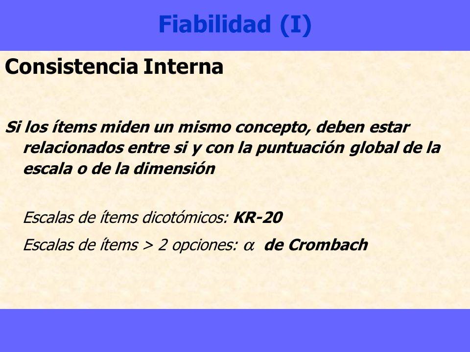 Fiabilidad (I) Consistencia Interna Si los ítems miden un mismo concepto, deben estar relacionados entre si y con la puntuación global de la escala o