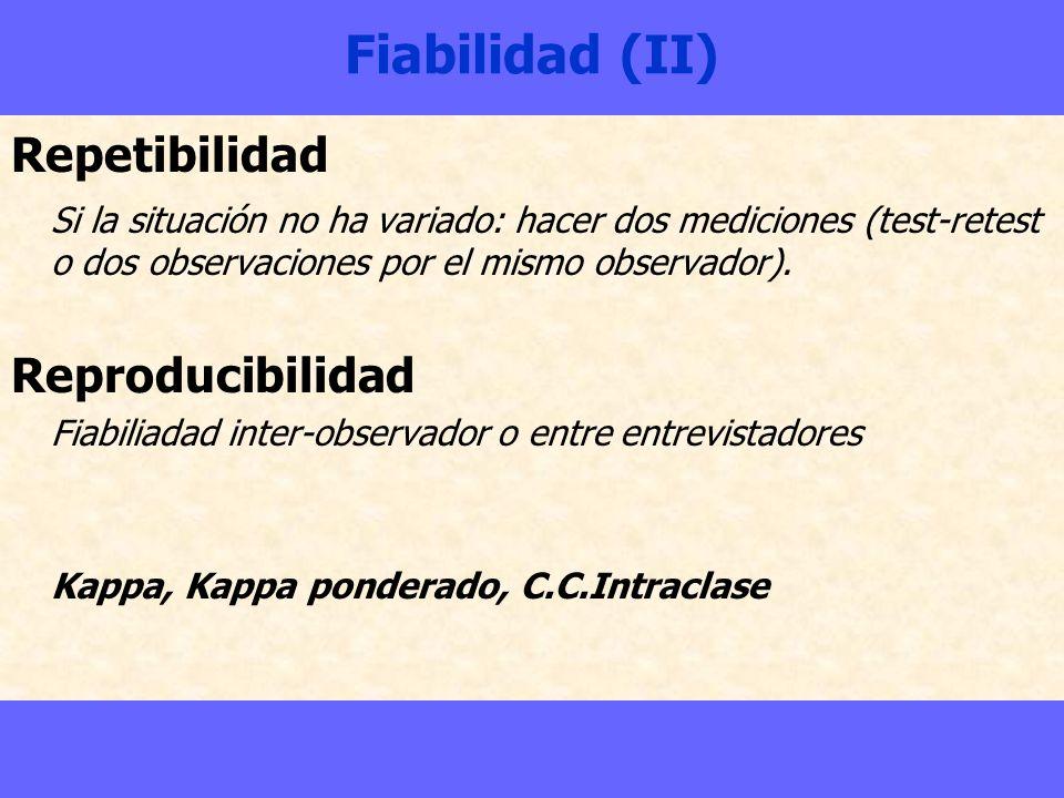 Fiabilidad (II) Repetibilidad Si la situación no ha variado: hacer dos mediciones (test-retest o dos observaciones por el mismo observador). Reproduci