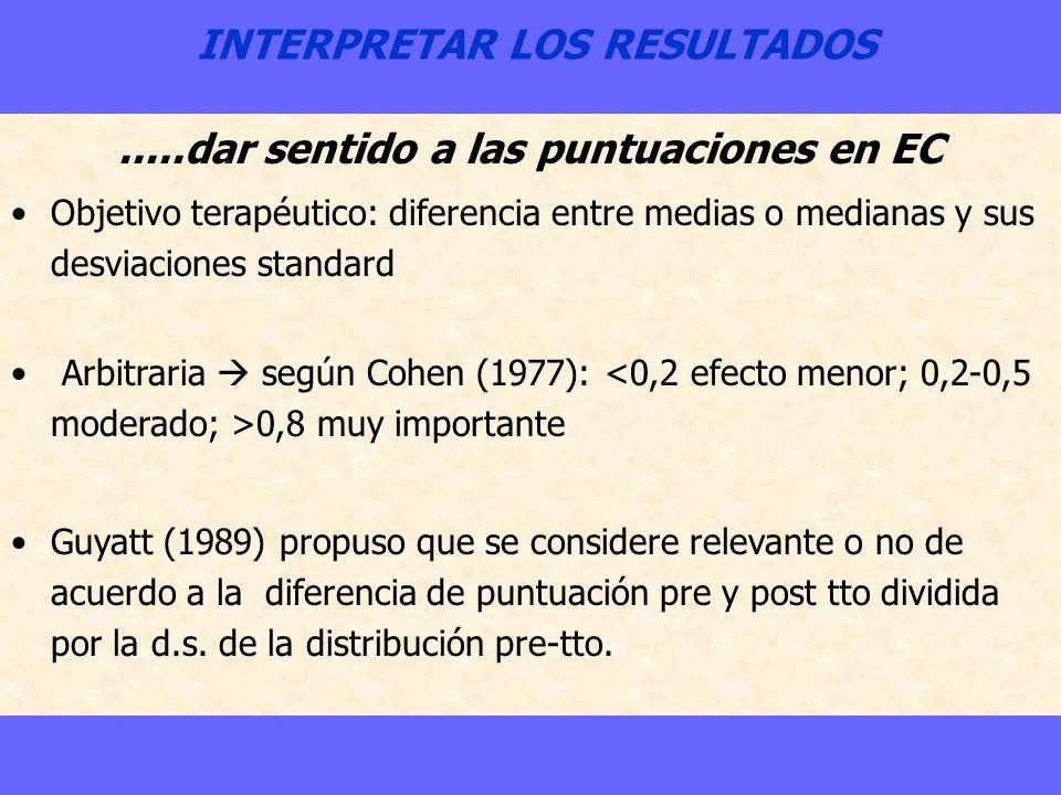 INTERPRETAR LOS RESULTADOS.....dar sentido a las puntuaciones en EC Objetivo terapéutico: diferencia entre medias o medianas y sus desviaciones standa