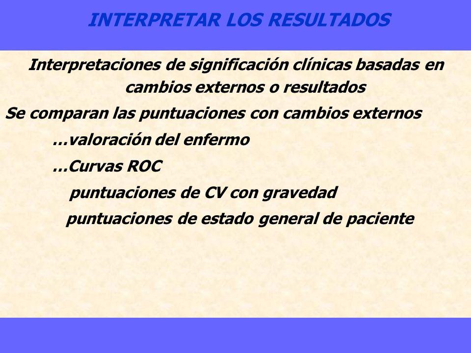 INTERPRETAR LOS RESULTADOS Interpretaciones de significación clínicas basadas en cambios externos o resultados Se comparan las puntuaciones con cambio