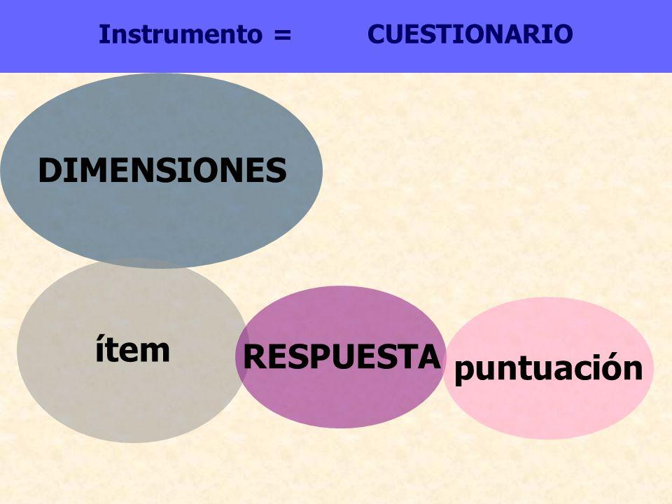 Instrumento = CUESTIONARIO DIMENSIONES ítem RESPUESTA puntuación
