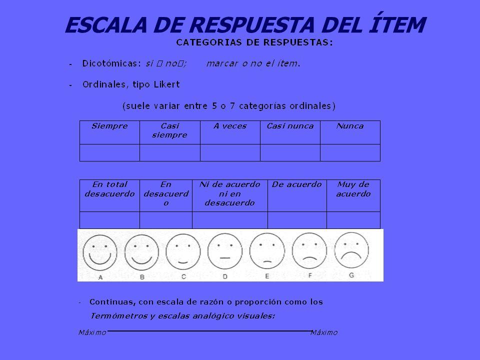 ESCALA DE RESPUESTA DEL ÍTEM