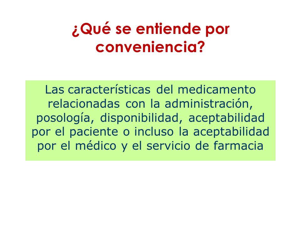 Las características del medicamento relacionadas con la administración, posología, disponibilidad, aceptabilidad por el paciente o incluso la aceptabi
