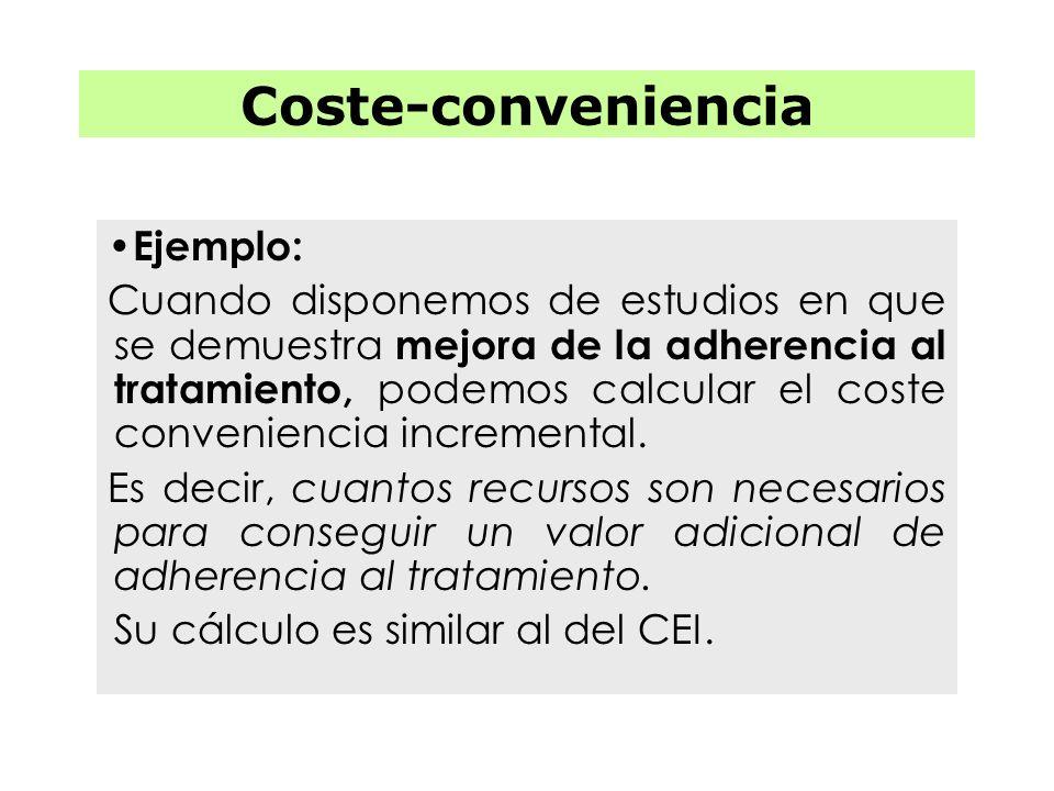 Coste-conveniencia Ejemplo: Cuando disponemos de estudios en que se demuestra mejora de la adherencia al tratamiento, podemos calcular el coste conven