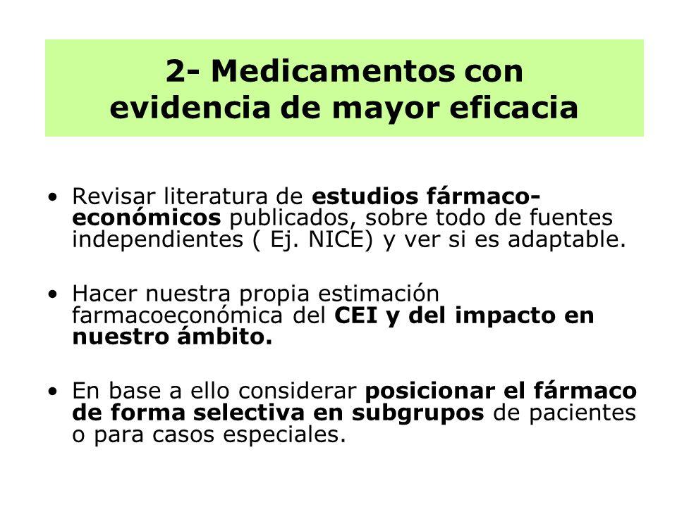 Revisar literatura de estudios fármaco- económicos publicados, sobre todo de fuentes independientes ( Ej. NICE) y ver si es adaptable. Hacer nuestra p