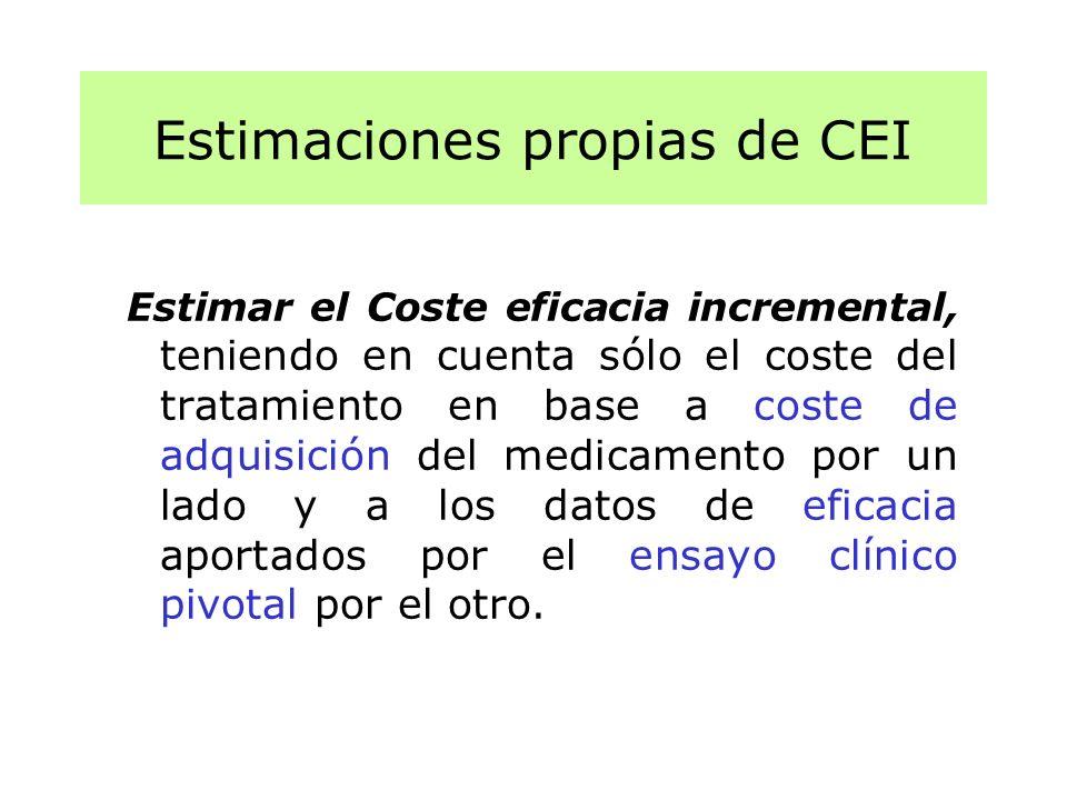 Estimar el Coste eficacia incremental, teniendo en cuenta sólo el coste del tratamiento en base a coste de adquisición del medicamento por un lado y a