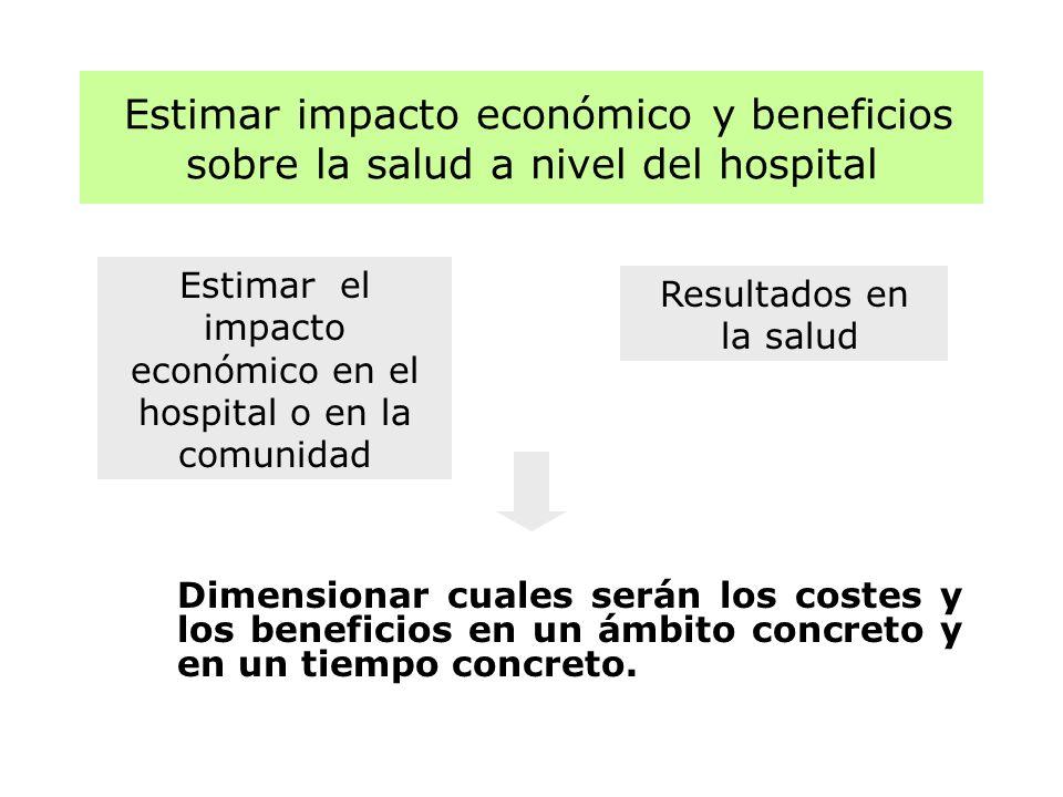 Estimar impacto económico y beneficios sobre la salud a nivel del hospital Dimensionar cuales serán los costes y los beneficios en un ámbito concreto