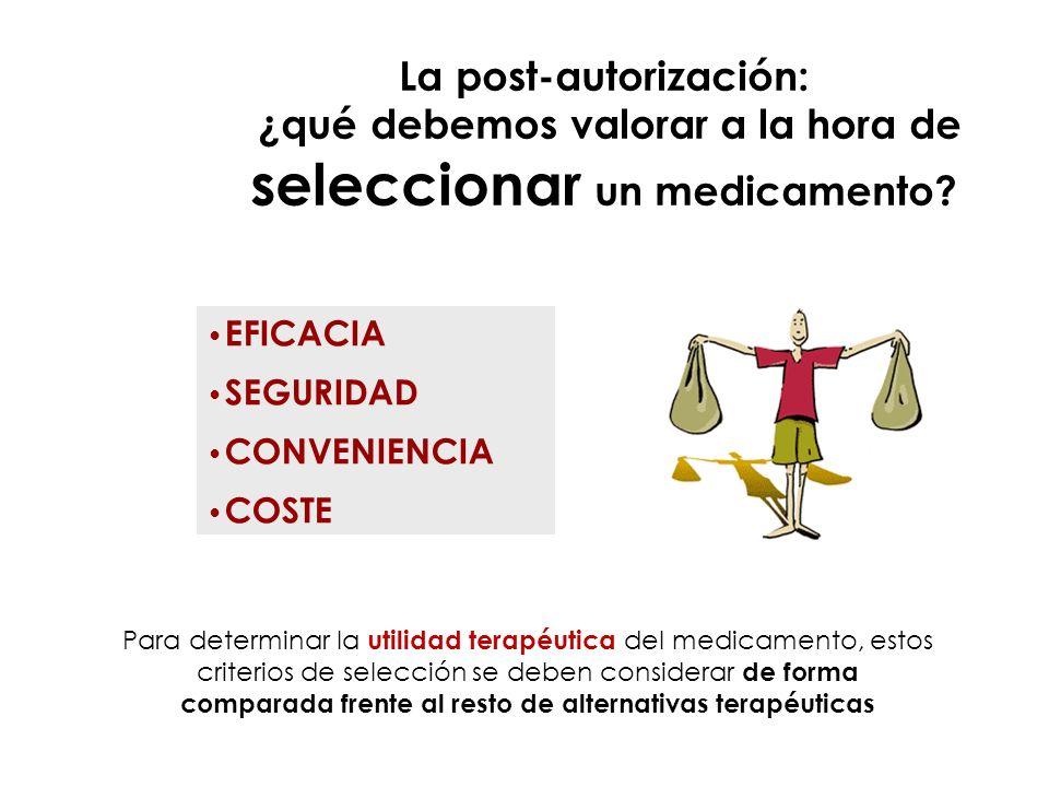 La post-autorización: ¿qué debemos valorar a la hora de seleccionar un medicamento? Para determinar la utilidad terapéutica del medicamento, estos cri