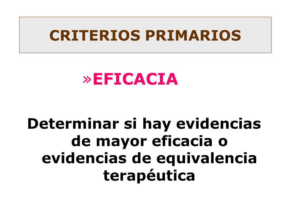 »EFICACIA Determinar si hay evidencias de mayor eficacia o evidencias de equivalencia terapéutica CRITERIOS PRIMARIOS
