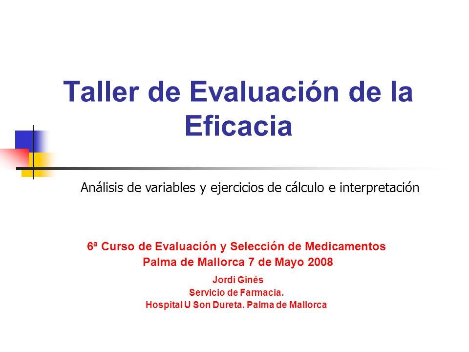 Taller de Evaluación de la Eficacia 6ª Curso de Evaluación y Selección de Medicamentos Palma de Mallorca 7 de Mayo 2008 Jordi Ginés Servicio de Farmacia.