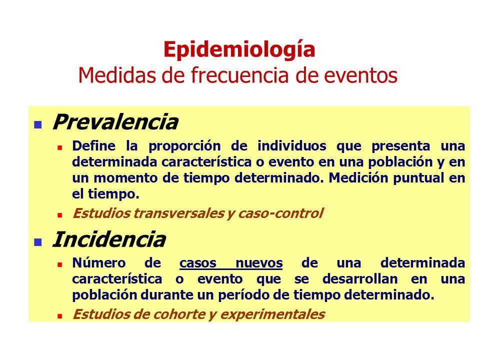 Epidemiología Medidas de frecuencia de eventos Prevalencia Define la proporción de individuos que presenta una determinada característica o evento en una población y en un momento de tiempo determinado.
