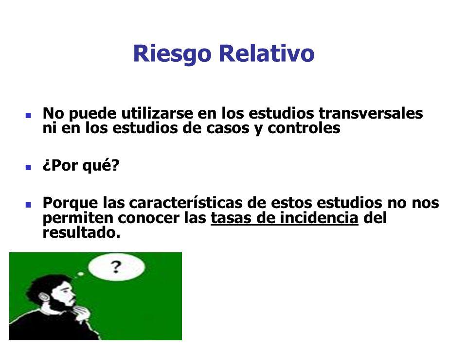 Riesgo Relativo No puede utilizarse en los estudios transversales ni en los estudios de casos y controles ¿Por qué.