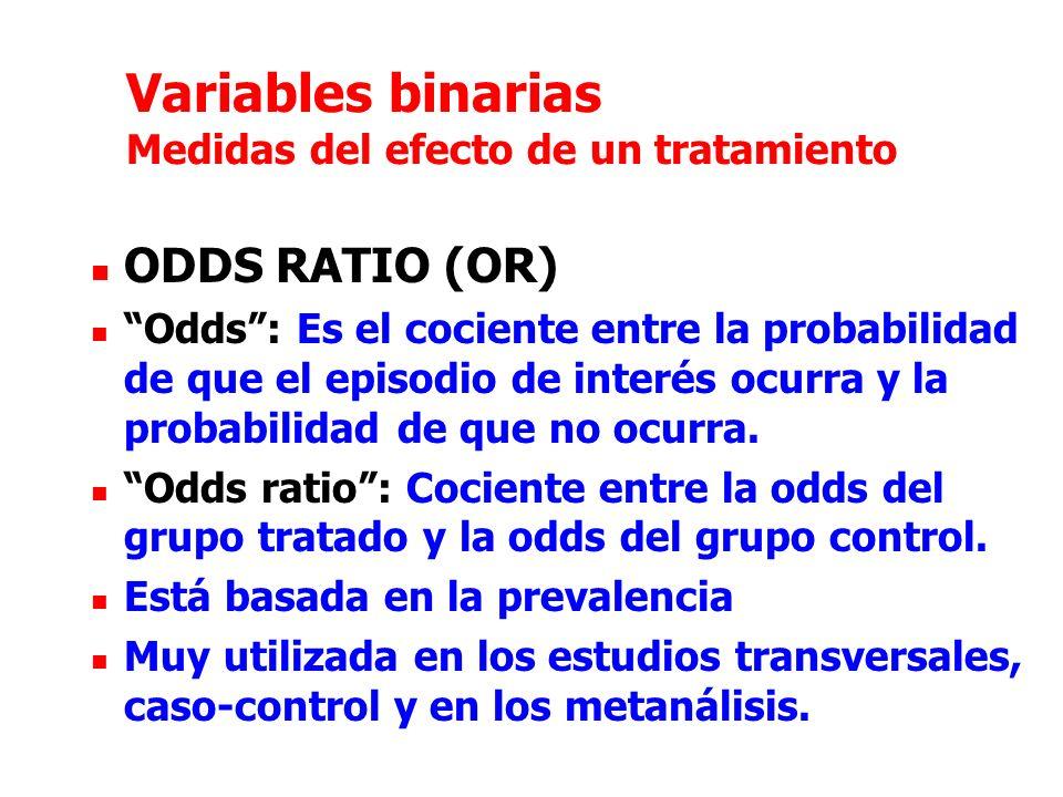 Variables binarias Medidas del efecto de un tratamiento ODDS RATIO (OR) Odds: Es el cociente entre la probabilidad de que el episodio de interés ocurra y la probabilidad de que no ocurra.