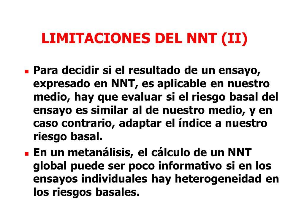 LIMITACIONES DEL NNT (II) Para decidir si el resultado de un ensayo, expresado en NNT, es aplicable en nuestro medio, hay que evaluar si el riesgo basal del ensayo es similar al de nuestro medio, y en caso contrario, adaptar el índice a nuestro riesgo basal.